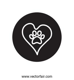 heart with dog print icon, line block style