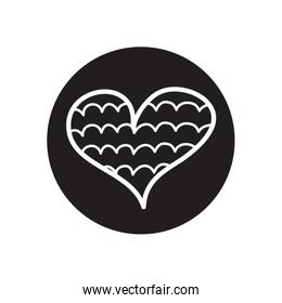 heart with cloudy line icon, line block style