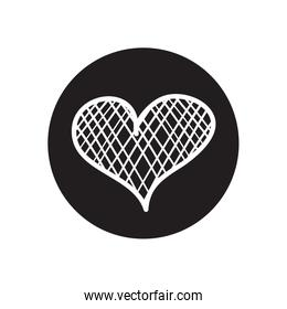 heart with crossed lines design, line block style