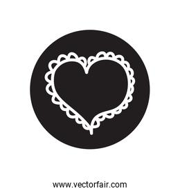 heart with decorative frame icon, line block style