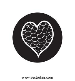 heart full of circles icon line block style
