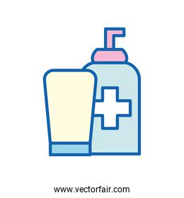 soap bottles with cross line and fill style icon vector design