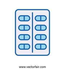 Medical pills line and fill style icon vector design