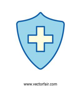 blue shield with cross line and fill style icon vector design