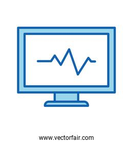 Heart pulse inside computer line and fill style icon vector design