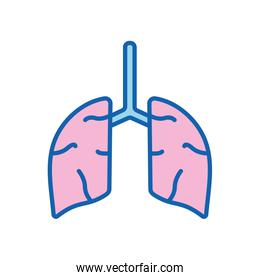 Lungs organ line and fill style icon vector design