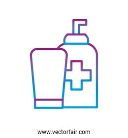soap bottles with cross gradient line style icon vector design