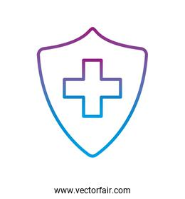 shield with cross gradient line style icon vector design