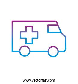 ambulance with cross gradient line style icon vector design