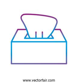 Tissues box gradient line style icon vector design