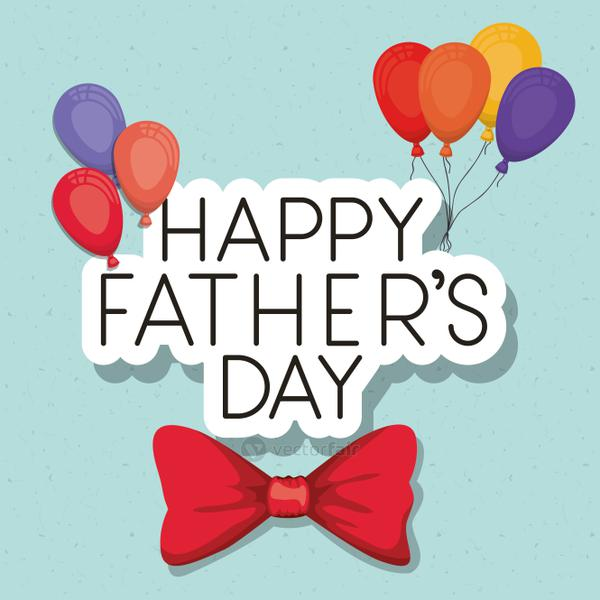 Happy fathers day balloons and bowtie vector design