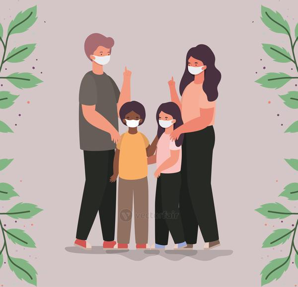 Family with masks and leaves vector design