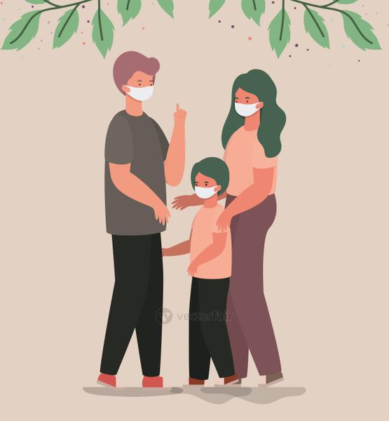 Mother father and son with masks and leaves vector design