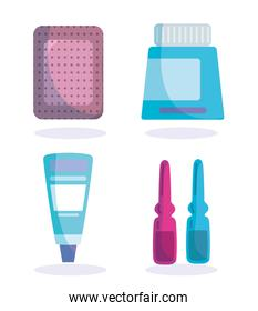 bandage ampoules cream and medication medical health care vaccination icons