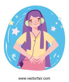 young girl with headphones mobile listening music
