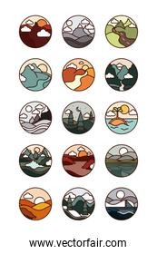 landscape nature mountains ocean and forest in circle icons set line and fill icon