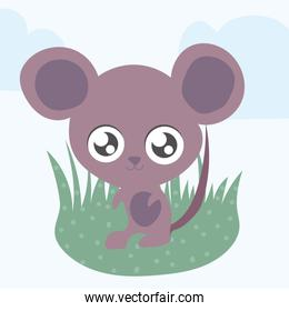 cute mouse, animal in kawaii style