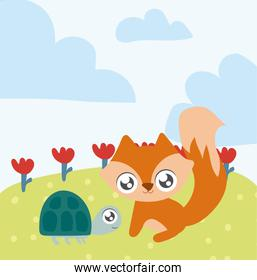 fox and turtle, animals in kawaii style