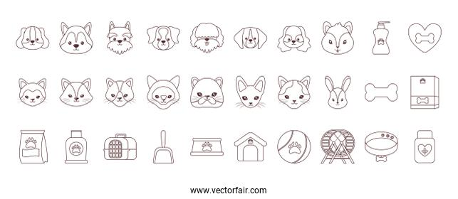 set of icons with domestic animals and accessories, line style icon