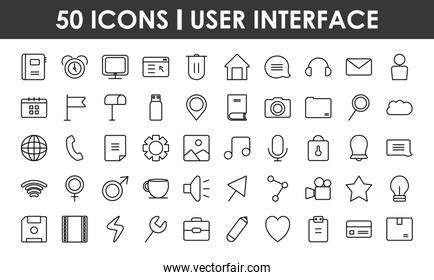 icon set of user interface, line style