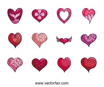 floral heart and hearts icon set, line color style
