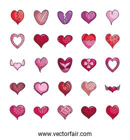 striped heart and hearts icon set, line color style