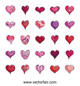 dotted hearts and hearts icon set, line color style