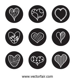 dotted heart and hearts icon set, line block style