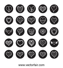 striped heart and hearts icon set, line block style