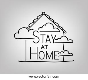 Stay at home text with house and clouds vector design