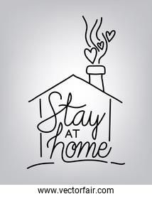 Stay at home text with house and hearts vector design