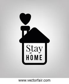 Stay at home text with house and heart vector design