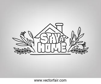Stay at home text with house and leaves vector design
