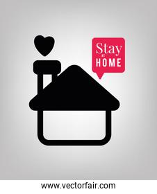 Stay at home text with house heart and bubble vector design