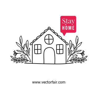 Stay at home text with house bubble and leaves vector design