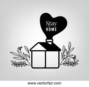 Stay at home text with house heart and leaves vector design