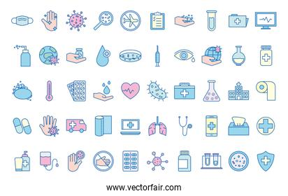 Covid 19 virus line and fill style icon set vector design