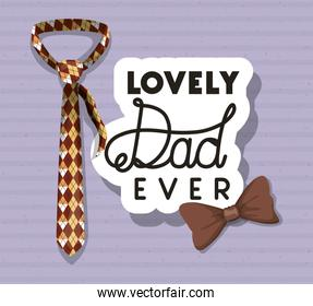 Lovely dad ever bowtie and necktie vector design