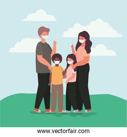 Family with masks outside vector design