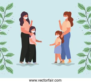 Mothers and daughters with masks and leaves vector design