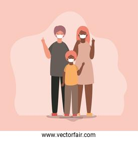 Mother father and son with masks vector design