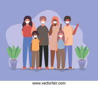 Family with masks and plants inside pots vector design