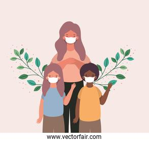 Mother son and daughter with masks and leaves vector design