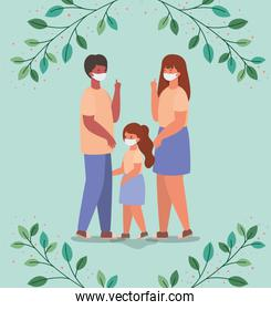 Mother father and daughter with masks and leaves vector design