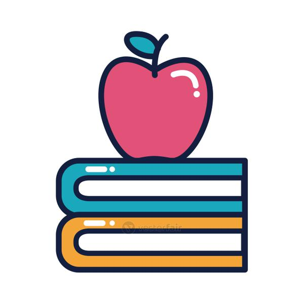 apple fresh fruit and books line and fill style