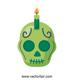 traditional mexican skull head with candle detaild style