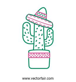cactus mexican plant with hat line style