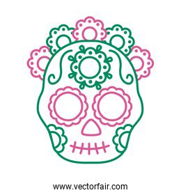 traditional mexican skull head with flowers line style