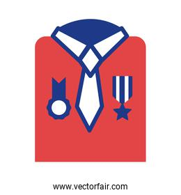 military shirt with medals silhouette style icon