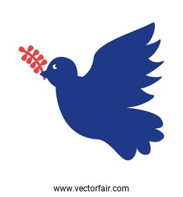 dove with olive branch silhouette style icon